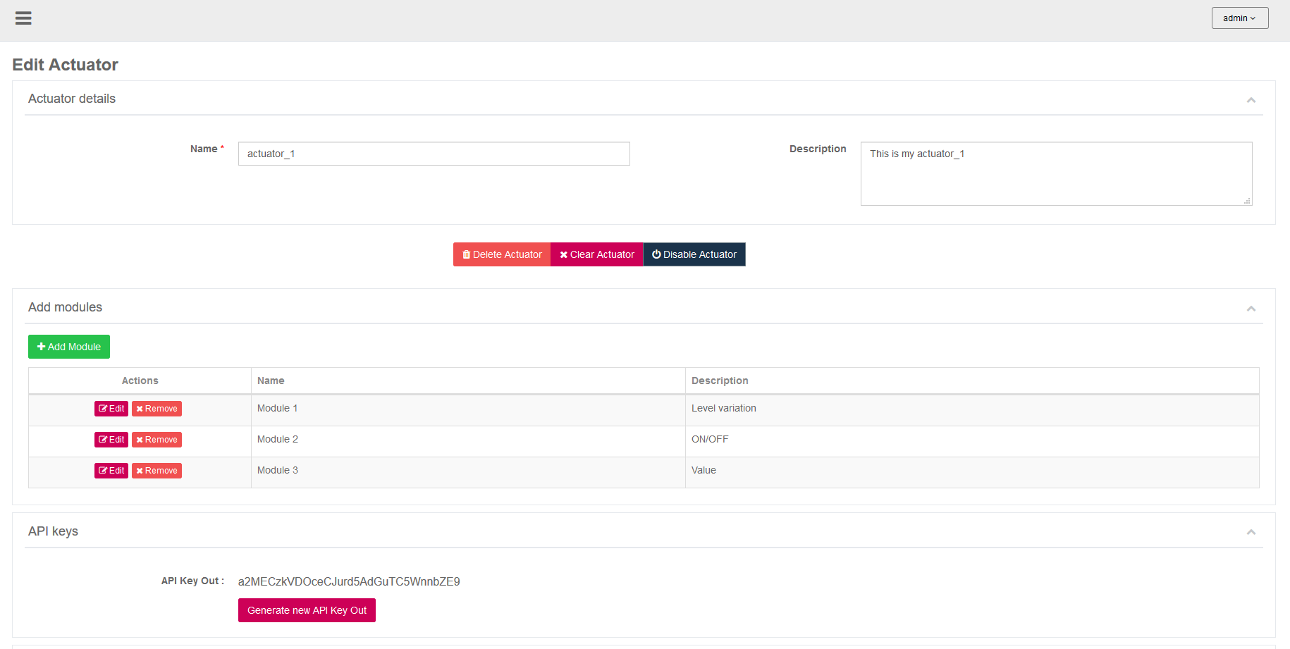 AskSensors : Edit Actuator
