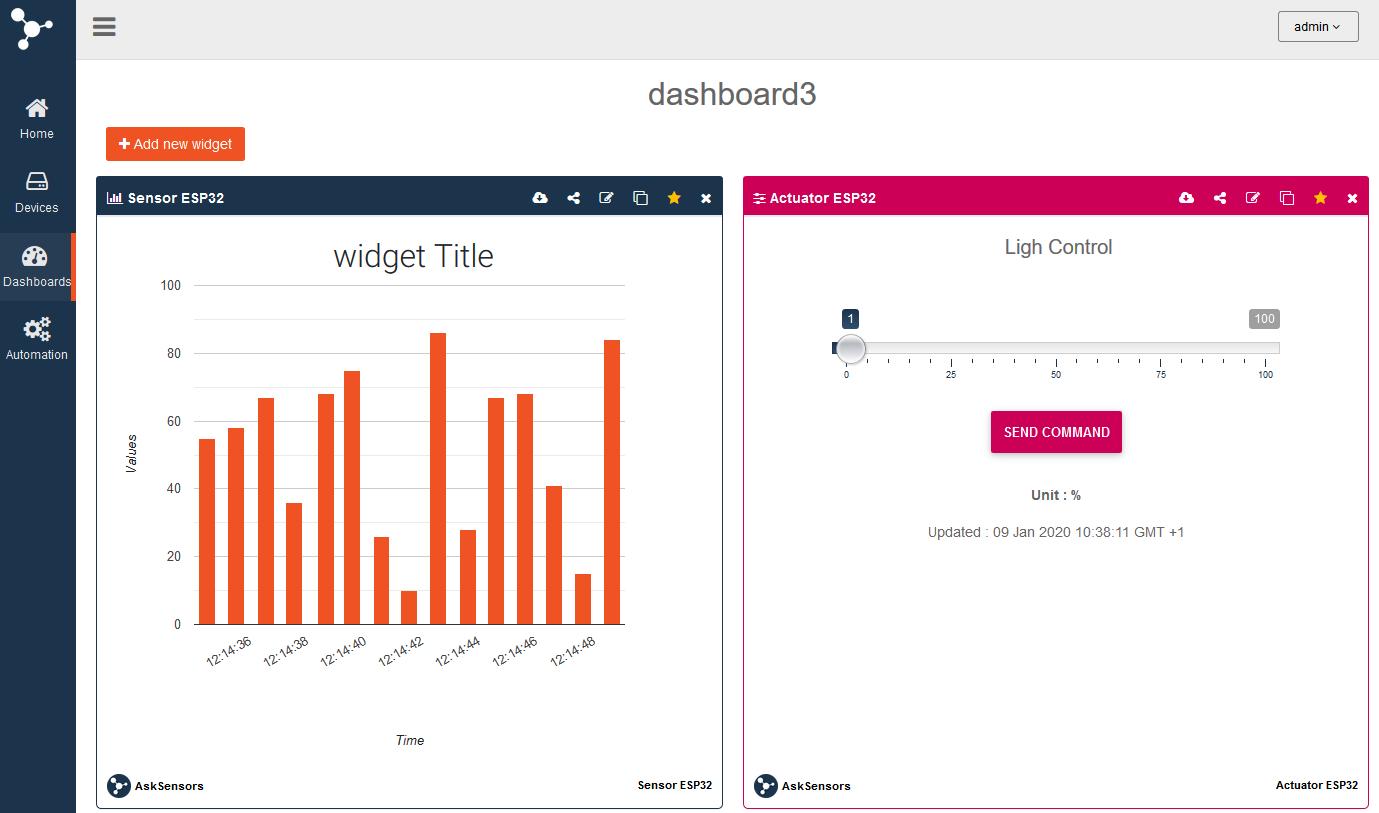 AskSensors : Data in Widget