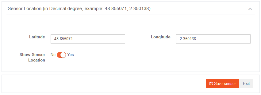 AskSensors : Sensor location settings